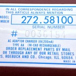 Sears Pocket PD12 Serial Tag - 0036154