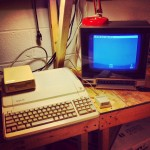 Picture of my Apple IIe Platinum at home on my Apple workbench.